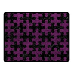 Puzzle1 Black Marble & Purple Leather Fleece Blanket (small) by trendistuff