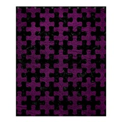 Puzzle1 Black Marble & Purple Leather Shower Curtain 60  X 72  (medium)  by trendistuff