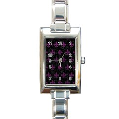 Royal1 Black Marble & Purple Leather Rectangle Italian Charm Watch by trendistuff