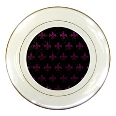 Royal1 Black Marble & Purple Leather Porcelain Plates by trendistuff