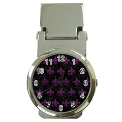 Royal1 Black Marble & Purple Leather Money Clip Watches by trendistuff
