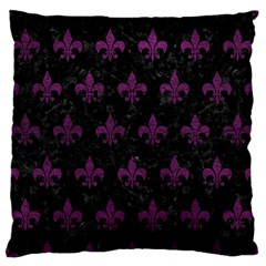 Royal1 Black Marble & Purple Leather Standard Flano Cushion Case (one Side) by trendistuff