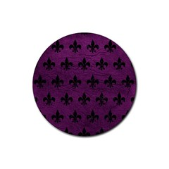 Royal1 Black Marble & Purple Leather (r) Rubber Coaster (round)  by trendistuff