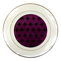 Royal1 Black Marble & Purple Leather (r) Porcelain Plates by trendistuff