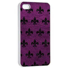 Royal1 Black Marble & Purple Leather (r) Apple Iphone 4/4s Seamless Case (white) by trendistuff