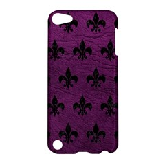 Royal1 Black Marble & Purple Leather (r) Apple Ipod Touch 5 Hardshell Case by trendistuff