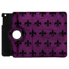 Royal1 Black Marble & Purple Leather (r) Apple Ipad Mini Flip 360 Case by trendistuff