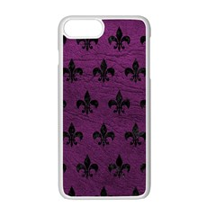 Royal1 Black Marble & Purple Leather (r) Apple Iphone 7 Plus White Seamless Case by trendistuff
