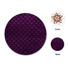 Scales1 Black Marble & Purple Leather Playing Cards (round)  by trendistuff