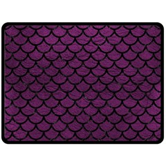 Scales1 Black Marble & Purple Leather Fleece Blanket (large)  by trendistuff