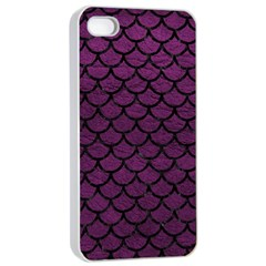 Scales1 Black Marble & Purple Leather Apple Iphone 4/4s Seamless Case (white) by trendistuff