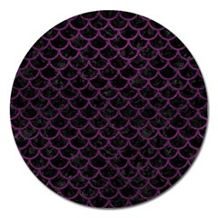 Scales1 Black Marble & Purple Leather (r) Magnet 5  (round) by trendistuff
