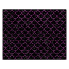 Scales1 Black Marble & Purple Leather (r) Rectangular Jigsaw Puzzl by trendistuff