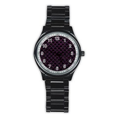 Scales1 Black Marble & Purple Leather (r) Stainless Steel Round Watch by trendistuff