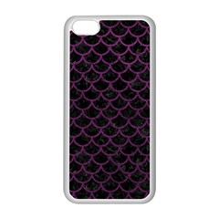 Scales1 Black Marble & Purple Leather (r) Apple Iphone 5c Seamless Case (white)