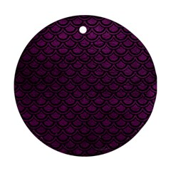 Scales2 Black Marble & Purple Leather Round Ornament (two Sides) by trendistuff