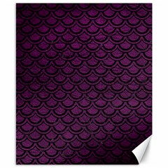 Scales2 Black Marble & Purple Leather Canvas 8  X 10  by trendistuff
