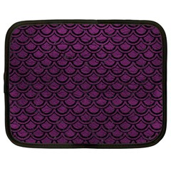 Scales2 Black Marble & Purple Leather Netbook Case (large) by trendistuff