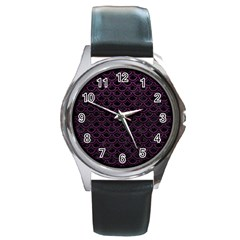 Scales2 Black Marble & Purple Leather (r) Round Metal Watch by trendistuff