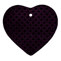 Scales2 Black Marble & Purple Leather (r) Ornament (heart) by trendistuff