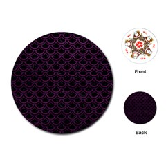 Scales2 Black Marble & Purple Leather (r) Playing Cards (round)  by trendistuff