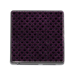 Scales2 Black Marble & Purple Leather (r) Memory Card Reader (square) by trendistuff