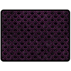 Scales2 Black Marble & Purple Leather (r) Fleece Blanket (large)