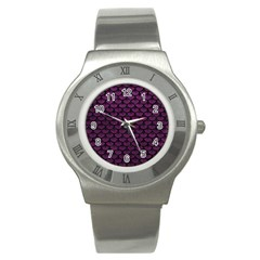 Scales3 Black Marble & Purple Leather Stainless Steel Watch by trendistuff