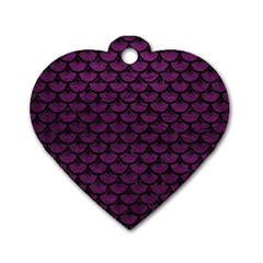 Scales3 Black Marble & Purple Leather Dog Tag Heart (one Side) by trendistuff