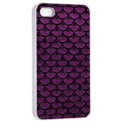 Scales3 Black Marble & Purple Leather Apple Iphone 4/4s Seamless Case (white) by trendistuff