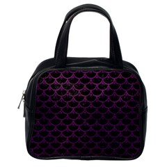 Scales3 Black Marble & Purple Leather (r) Classic Handbags (one Side) by trendistuff