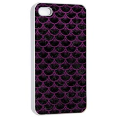 Scales3 Black Marble & Purple Leather (r) Apple Iphone 4/4s Seamless Case (white) by trendistuff