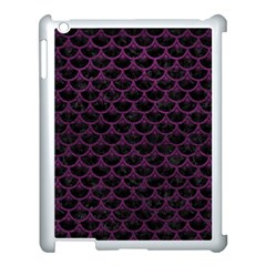 Scales3 Black Marble & Purple Leather (r) Apple Ipad 3/4 Case (white) by trendistuff