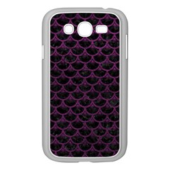 Scales3 Black Marble & Purple Leather (r) Samsung Galaxy Grand Duos I9082 Case (white) by trendistuff