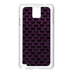 Scales3 Black Marble & Purple Leather (r) Samsung Galaxy Note 3 N9005 Case (white)