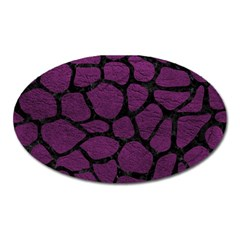 Skin1 Black Marble & Purple Leather (r) Oval Magnet by trendistuff