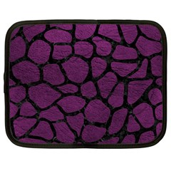Skin1 Black Marble & Purple Leather (r) Netbook Case (large) by trendistuff