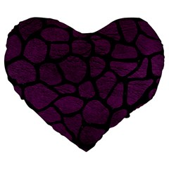 Skin1 Black Marble & Purple Leather (r) Large 19  Premium Heart Shape Cushions by trendistuff
