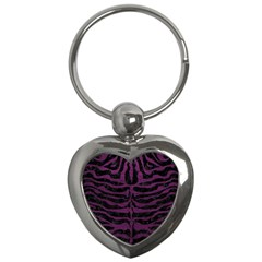Skin2 Black Marble & Purple Leather (r) Key Chains (heart)  by trendistuff