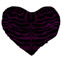Skin2 Black Marble & Purple Leather (r) Large 19  Premium Heart Shape Cushions by trendistuff