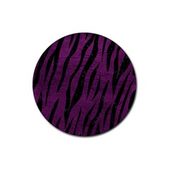 Skin3 Black Marble & Purple Leather Rubber Round Coaster (4 Pack)  by trendistuff