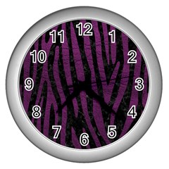 Skin4 Black Marble & Purple Leather Wall Clocks (silver)  by trendistuff