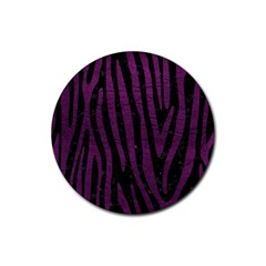 Skin4 Black Marble & Purple Leather Rubber Coaster (round)  by trendistuff