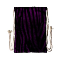 Skin4 Black Marble & Purple Leather Drawstring Bag (small) by trendistuff