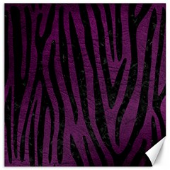 Skin4 Black Marble & Purple Leather (r) Canvas 16  X 16   by trendistuff