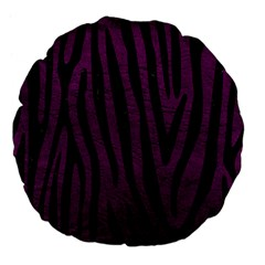 Skin4 Black Marble & Purple Leather (r) Large 18  Premium Flano Round Cushions by trendistuff