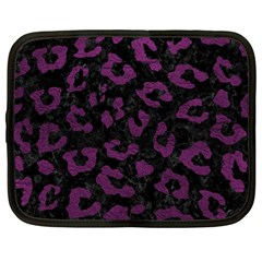 Skin5 Black Marble & Purple Leather Netbook Case (large) by trendistuff