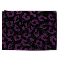 Skin5 Black Marble & Purple Leather Cosmetic Bag (xxl)
