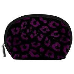 Skin5 Black Marble & Purple Leather Accessory Pouches (large)  by trendistuff