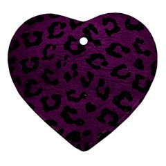 Skin5 Black Marble & Purple Leather (r) Ornament (heart) by trendistuff